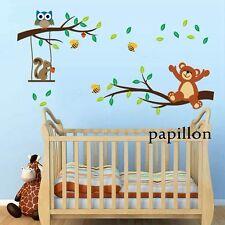 Lindo Peluche bear/squirrel/owl / bee/tree / nursery/kid/baby pegatinas de pared calcomanía Mural