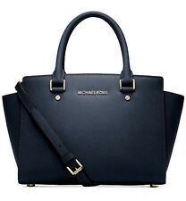 NWT Michael Kors Selma Navy Medium Satchel Top Zip Leather Tote bag