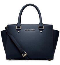 NWT Michael Kors Selma Navy Medium Satchel Top Zip Leather Tote bag