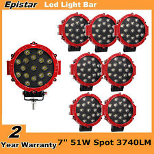 8X 7inch 51W Red Round Spot LED Work Light 6000K Offroad Driving Lamp Jeep Truck