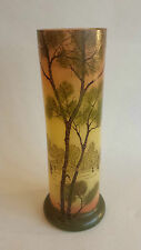 Vintage/Antique Handpainted Glass Vase Dutch Tree and sailing boats