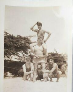 1926 Frat Boys At Beach Handsome Young Men Pyramid Original Photo Gay Interest