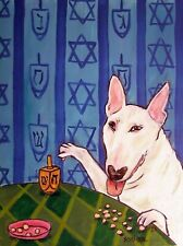 bull terrier dreidel hanukah 11x14 art print animal picture
