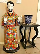 """Mexican Talavera Pottery St. Francis Of Assisi Statue XL 41"""" Religious Folk Art"""