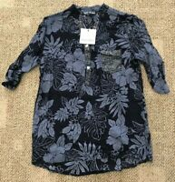 Angela Mara Womens Short Sleeve Top Navy Blue Floral Print Size Small S
