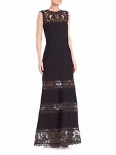 Tadashi Shoji Lace-Panel Gown Dress Evening Lace XS 2 Black Ribbed Maxi $508