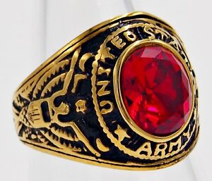 MEN RING RUBY STAINLESS STEEL YELLOW GOLD US SOLDIER MILITARY EAGLE SIZE 10.25