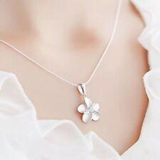 925 Sterling Silver Plated Plumeria Flower Pendant Necklace Snake Chain Girl