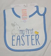 New Unisex Baby Carters My First Easter Bib Bunny Chick Blue White Boy