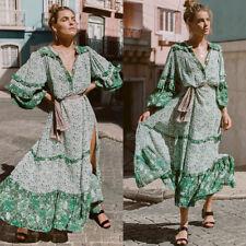 AU Summer Womens Floral Boho Long Dress Evening Party V Neck Maxi Dress Sundress