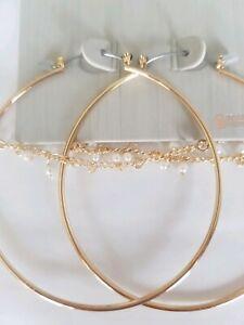 Freedom At Topshop Gold Pearl chain Hoop Earrings
