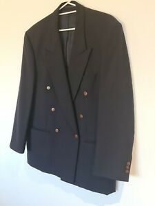 Anthony Rubino Mens Size XL Button Up Pure Wool Blazer Charcoal Fully Lined VGC