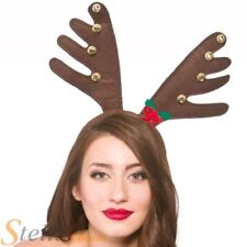 Christmas Brown Reindeer Rudolf Headband Ears Antlers & Bell Night Fancy Dress