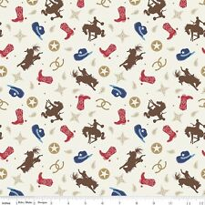 By 1/2 Yard Fabric ~ Cowboy Toss in Multi ~ Horse Boots Cowboy Riley Blake