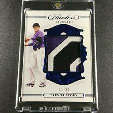 TREVOR STORY 2020 PANINI FLAWLESS SAPPHIRE 3-COLOR PATCH /10 COLORADO ROCKIES