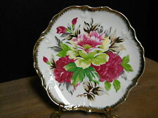 Decorative Plate Floral Red Yellow Green On White Gold Trim Ardco Japan