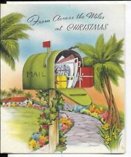 4x5 Christmas card 1940s era, tropical Christmas with palm trees and mailbox