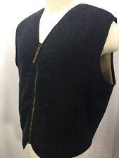 Woolrich Men Wool Vest Charcoal Gray Full Zip Sherpa Fleece Lined Size Large