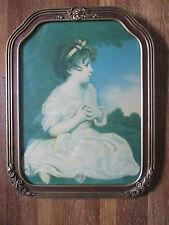vintage BORIN MFG. PRINT Girl with Hair Ribbon on Lawn LOVELY FRAME