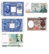Italia 5 Banconote: 10 lire vitt.ema campione,5000 lire errore +(Riproduz/copy)