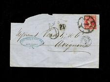 Spain 1862 12c POSTAL FORGERY Barcelona to Avignon France.