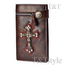 T&T Punk Brown Leather Skull Cross Wallet Medium Size H14B