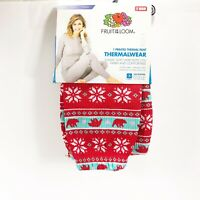 Fruit of the Loom Thermal Women's Pants Red Polar Fair Isle Print Size Small 4-6