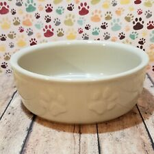 Dog Bowl with Paw Prints Ceramic Stoneware Food Water Dish Large 7""