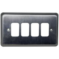 MK Grid Plus K3434BRC 4-Module Grid Frontplate Brushed Chrome