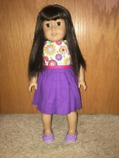 "AMERICAN GIRL 18"" DOLL Brown Hair & Eyes purple floral Dress with purse"