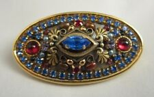Vintage Michal Golan Signed Prong Set Blue & Ruby Red Rhinestone Brooch Pin