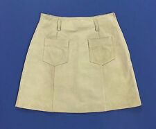 Max co max mara minigonna 40 42 vera pelle beige usata mini high waist hot T1184