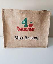 Personalised Jute Hessian Bag 30x30cm ~ TEACHER NURSERY GIFT #1 teacher