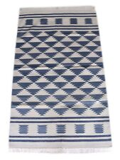 Hand Woven Cotton Kilim Area Rug Modern Blue Color Carpet  3x5 Feet DN-1600