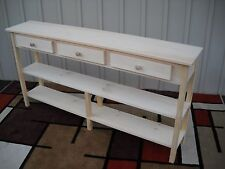 """Unfinished 60"""" Sofa,Console,Shaker Style Pine table w/2 Shelves & 3 Drawers"""