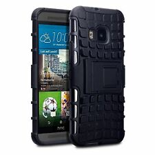Rugged Tough Rubberised Hard Back Case Cover Black For HTC One M9
