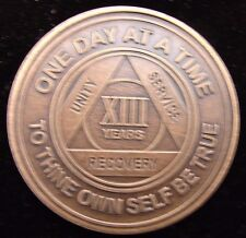 Alcoholics Anonymous AA 13 Year Bronze Medallion Token Coin Chip Sobriety Sober