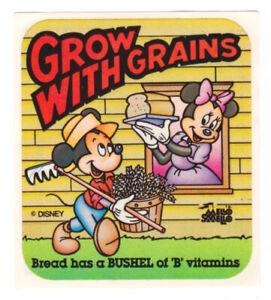 Vintage MELLO SMELLO Scratch & Sniff Stickers Disney GROW WITH GRAINS Bread