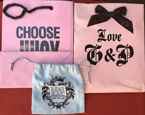Lot of Juicy Couture Gift Shopping Bags & Drawstring Jewelry Bag