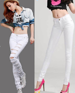 NEW WOMENS RIPPED JEANS WHITE MID RISE JEGGINGS STRETCHY KNEE CUT SIZES 6TO16