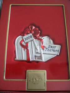 LENOX $29 Silverplated 2006 Bless this Home Mailbox Christmas Ornament NIB
