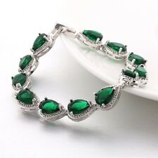 May Birthstone 18K White Gold Filled Pear Emerald Tennis Bracelet Jewelry 7.3""