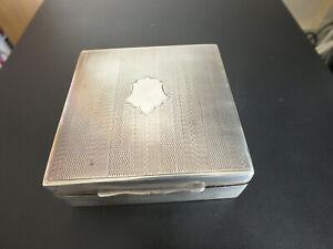 Antique Art Deco Solid Silver & Cedar Lined Cigarette / Trinket Box  - 1929