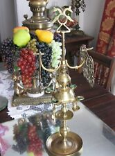 LARGE ORNATE COMPLETE  SOLID BRASS ANTIQUE/VINTAGE WHALE OIL BURNER LAMP