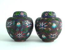 antikes Paar Cloisonne Deckeldosen / Vasen - sehr schön
