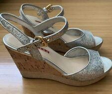 Prada Silver Glitter Cork Espadrille Wedge Sandal $650 Size 38 (7.5)