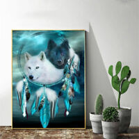 5D Full Drill Diamond Painting Cross Kits Embroidery Wolf Dream Catcher Mural