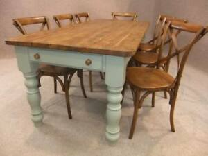 200CM PINE KITCHEN FARMHOUSE TABLE WITH A PAINTED BASE WINCHCOMBE