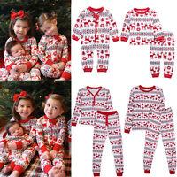 Christmas Family Women Baby Kids Deer Sleepwear Nightwear Pajamas Set Pyjamas US