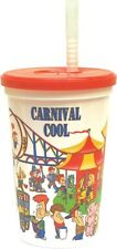 25 ct 16oz CARNIVAL COOL DRINK CUPS W/ LIDS & STRAWS *Souvenir*- Party, Festival